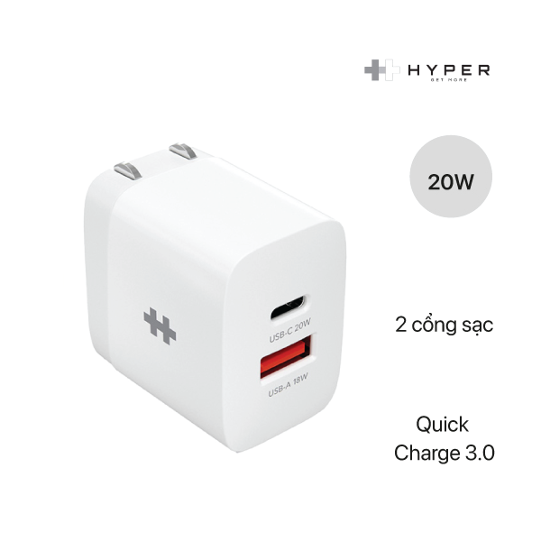 Sạc Hyperjuice Small Size Charger HJ205 2 Cổng 20W