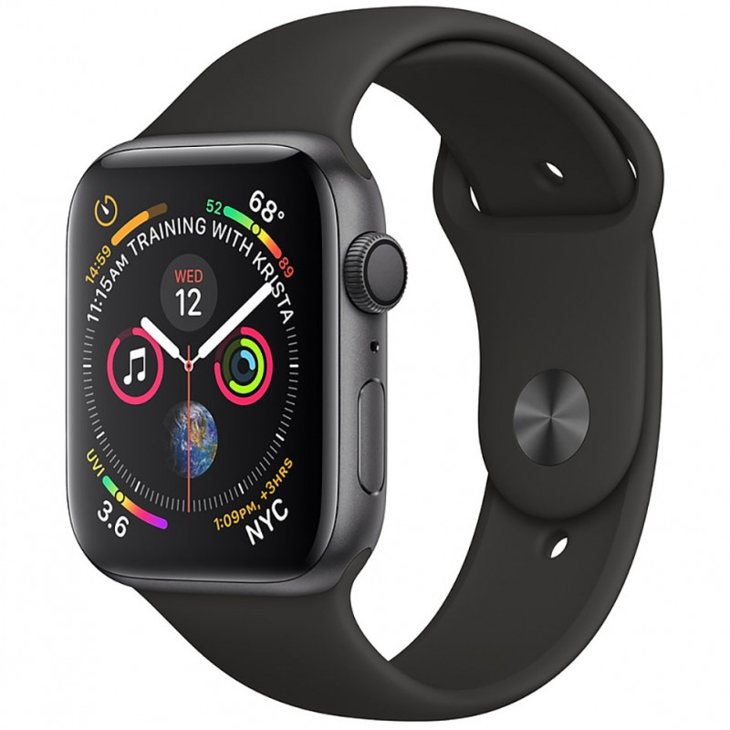 Apple Watch Series 4 Space Gray Aluminum 44mm Black Sport Band (GPS+CELLULAR)