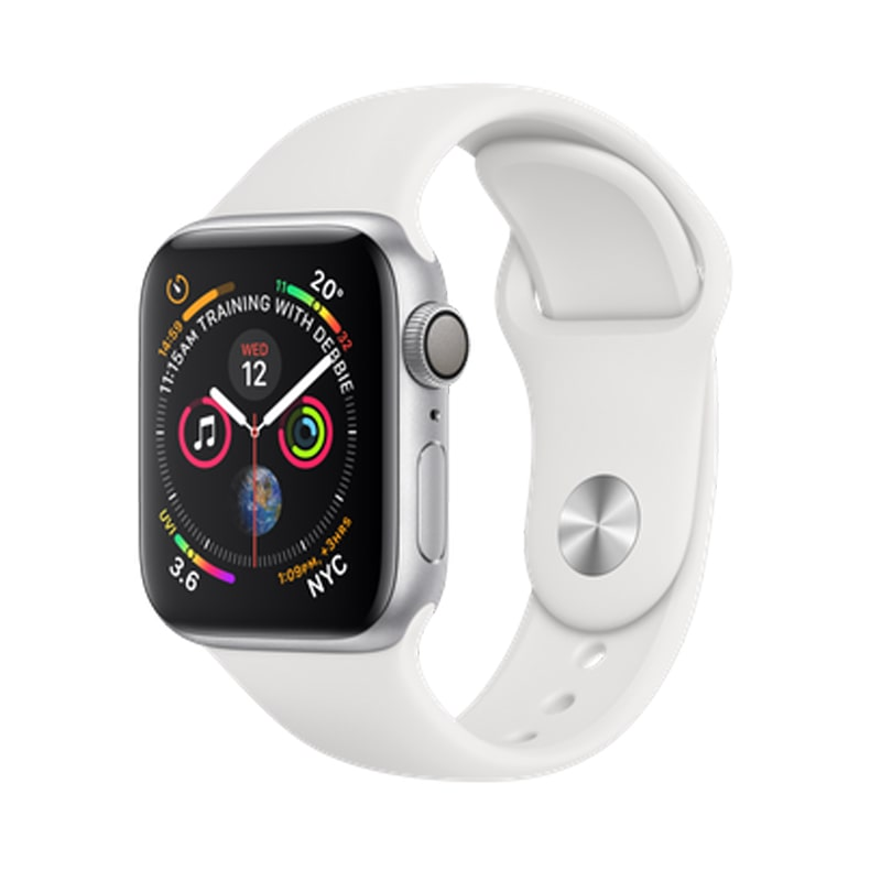 Apple Watch Series 4 Silver Aluminum 40mm White Sport Band (GPS)