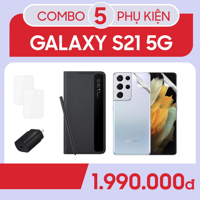 Bộ Combo phụ kiện sạc 25w, Clear view Cover with Spen Samsung Galaxy S21 Ultra