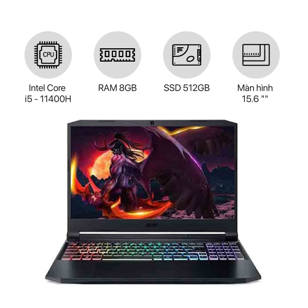 Laptop Gaming Acer Nitro 5 Eagle AN515-57-51G6 (8GB/512GB/15.6FHD/Win10)