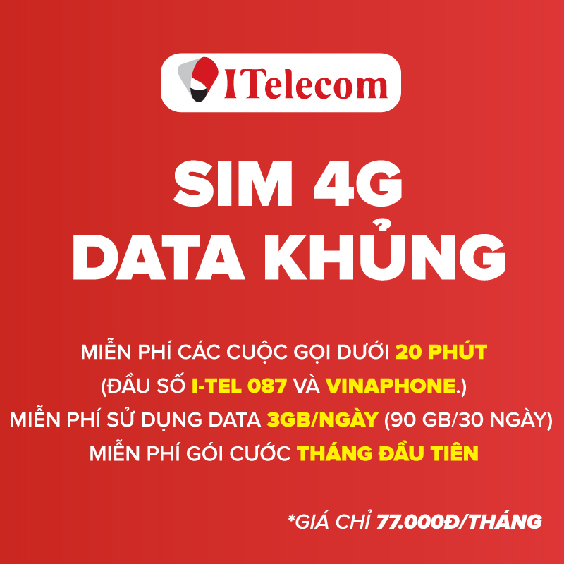 Sim 4G Data Itelecom May77